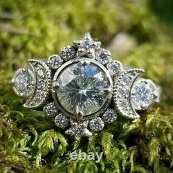 Half Moon Retro Vintage Antique Engagement Ring 2 Ct Diamond 14K White Gold Over