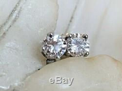High Quality Vintage Estate 14k Gold Genuine Natural Diamond Earrings Solitaire