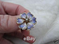 Huge Antique Victorian 14k Y Gold Lavender Enamel Floral Pansy Violet Pin