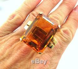 Huge Heavy Vintage 14k Gold Emerald Cut 54.17ct Citrine Cocktail Ring 23.3gm