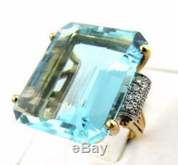 Huge Vintage 14k Gold 50ct Emerald Cut Aquamarine Diamond Cocktail Ring 20.4g