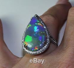 IMPORTANT BLACK OPAL 18K W GOLD DIAMOND RING / Pendant