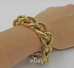 Impressive Heavy Vintage Chunky 18K Yellow Gold Cable Link Bracelet 8 Inches