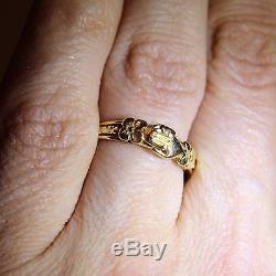 Incredible Georgian Fede Gimmel 18ct Yellow Gold Heart Wedding Ring M 1/2- 6 1/2