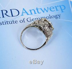 Investment grade Art Deco ladies 6.16ct certified diamond ring, fully guaranteed