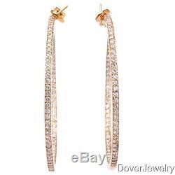 Italian 6.5ct Diamond 18K Yellow Gold Hoop Earrings 25.2 Grams NR
