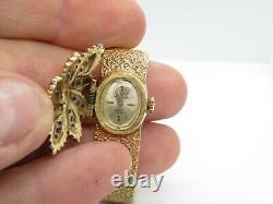 Jules Jurgensen Watch 14K Gold Diamond Ladies Hidden Face Wristwatch 27.86 Grams