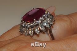 LARGE ESTATE! GIA 11.65CT RUBY! FANCY CUT DIAMOND Platinum Gold RING