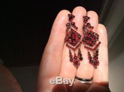 LONG 1800'S Antique Victorian CZECH Bohemian Rose Cut CHANDELIER Garnet Earrings
