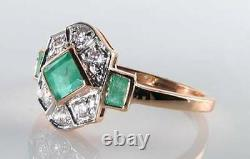 LUSH 9K 9CT ROSE GOLD COLOMBIAN EMERALD DIAMOND ART DECO INS RING Size M