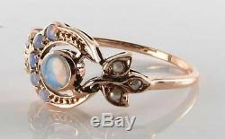 LUSH 9K 9CT ROSE GOLD OPAL & PEARL SUN MOON VINTAGE ART DECO INS RING FREE Size