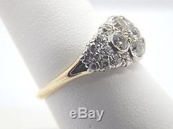 Ladies Antique 14K Platinum 1 CT Mine and European Cut Diamond Art Deco Ring
