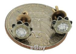 Ladies Antique Art Deco Estate 14K 585 Two Tone Gold Diamond Stud Earrings