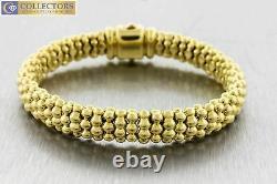 Ladies Genuine Lagos 18K 750 Yellow Gold Beaded Caviar Box Clasp Bracelet 38.8g