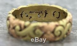 Ladies Vintage Jabel 14K 585 Two Tone Rose Yellow Gold Floral Wedding Band Ring