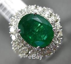 Large 4.84ct Diamond & Emerald 14kt White Gold Double Halo Oval Engagement Ring