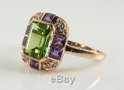 Large 9k 9ct Rose Gold Peridot Amethyst Diamond Art Deco Ins Ring Free Resize