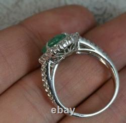 Large Emerald & Vs 1.00ct Diamond 18ct White Gold Cluster Ring d0223