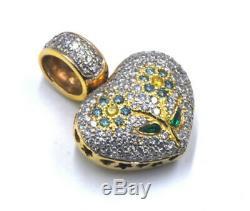 Large Puffy Heart VS Diamond Flower Pendant 14k Gold Pave Enhancer VTG Estate NR