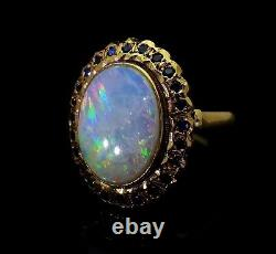 Large Vintage Oval Cabochon Opal Ring Solid 14K Yellow Gold Fine Estate Jewelry