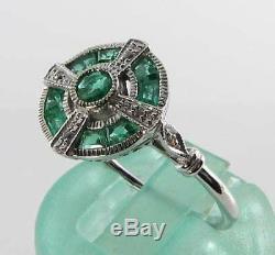 Lovely 9k 9ct White Gold Emerald Diamond Art Deco Ins Ring Free Resize