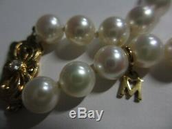 MINT AUTH BREATHTAKING 18 MIKIMOTO 8MM+ PEARL NECKLACE With18K DIAMOND CLASP-NR