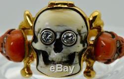 MUSEUM 19th C. Victorian 18k gold, Coral&Diamonds Memento Mori Skull Poison ring