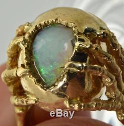 MUSEUM Georgian 18k gold, 2ct Opal&Diamonds Memento Mori open brain Skull ring