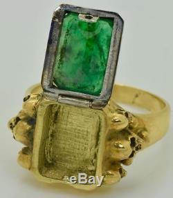 MUSEUM Victorian 18k gold&5ct EmeraldMemento Mori Skull Poison Ring/pill box