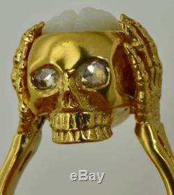 MUSEUM antique Georgian 18k gold&Diamonds Memento Mori open brain Skull ring