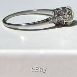 Magnificent. 75 TCW Cushion Cut Yellow Old Mine Cut Diamond Platinum Ring C 1900
