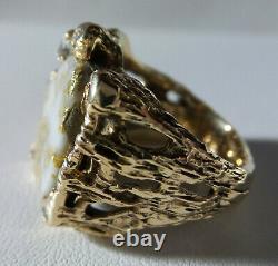 Massive 14 K Gold Vintage Gold In Quartz Vs Diamond Mens Ring 20.2 G-size 10 1/4