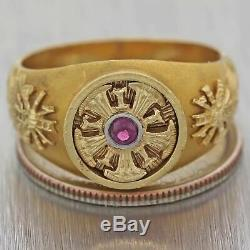 Mens Antique Victorian Estate Solid 14k Yellow Gold. 10ctw Ruby Band Ring