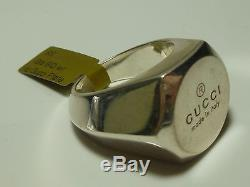 Mens Womens Big Heavy Signature Gucci Sterling Silver Signet Crest Shield Ring