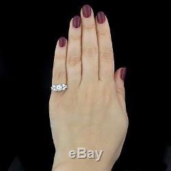Mid Century 1.39ct Diamonds 14k White Gold Engagement Ring Estate Vintage