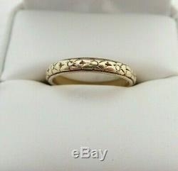 Minty Antique Art Deco 18k Yellow Gold Forget Me Not Eternity Band Ring Sz 7