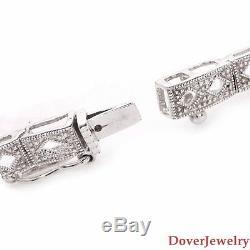 Modern 0.25ct Diamond 14K White Gold Filigree Bracelet 10.4 Grams NR
