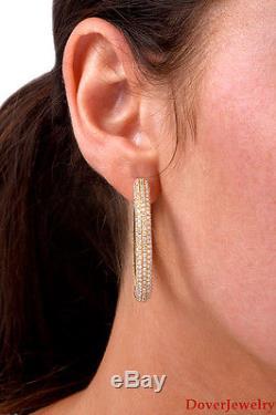 Modern 9.34ct Diamond 18K Yellow Gold Large Hoop Earrings 31.0 Grams NR