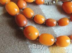 Natural Butterscotch Egg Yolk Amber Beaded Necklace 45 Grams