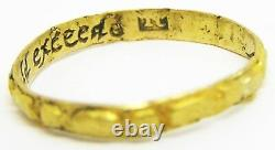 Nice 17th century A. D. Jacobean Gold Posy Ring A great neede doth gold exceede