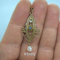 Nouveau Victorian Vintage 10k Gold Blue Sapphire Pearl Lavalier Necklace Pendant