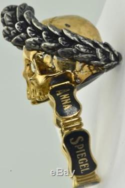 ONE OF A KIND Georgian 18k gold, Enamel&Diamonds Mourning Skull Urn Ring c1766
