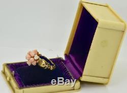 ONE OF A KIND Georgian MEMENTO MORI SKULLS 18k Gold&Diamonds&coral roses ring