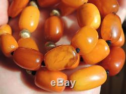 Old Butterscotch Amber Barrel Beaded Necklace 55 Grams