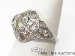 Old Euro Diamond Platinum 2.40ctw Antique Fancy Filigree 1930s Art Deco Ring