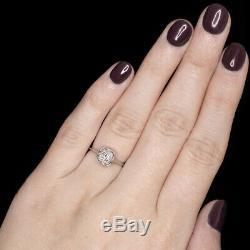 Old European Cut Diamond 18k Vintage Engagement Ring Solitaire Art Deco Antique
