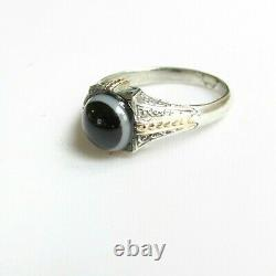 Old antique Victorian solid silver mourning ring with gold detail size O