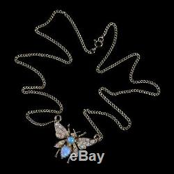 Opal Butterfly Pendant Necklace 18ct Gold Silver