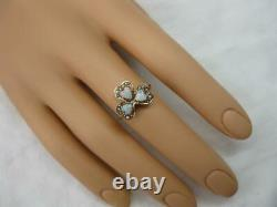 Opal Heart Ring Victorian Shamrock Pearl Gold Wedding Engagement Edwardian