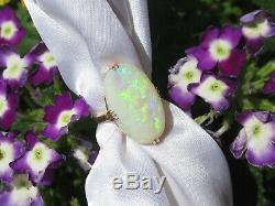 Opal Ring Vintage 18K Yellow Gold Estate Retro Period Fine Jewelry Solid Size 3